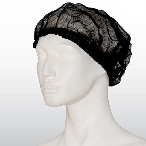 100 Stück Einweghauben schwarz - Klipphauben - Vlies-Haube Clip - Größe L, 52 cm Durchmesser, (100-er Pack) - Schwesternhaube aus Vlies