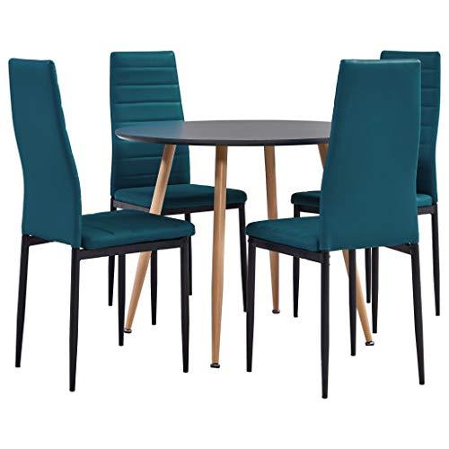 vidaXL Juego de Comedor 5 Piezas Conjunto Set de Muebles Sillas Asientos Sofá Mesa o Soporte Cocina Hogar Interior Casa Cuero Sintético Azul Mar