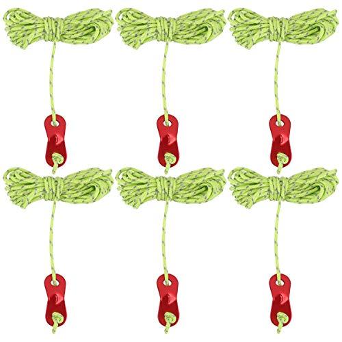 ABOOFAN 6 cuerdas reflectantes para tienda de campaña de 4 metros con 2 tensores de cuerda para acampar, senderismo, mochilero, accesorios de color aleatorio (verde)
