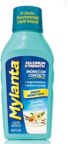 Mylanta Antacid and Gas Relief Maximum Strength Formula Vanilla Caramel Flavor 12 Fluid Ounce product image