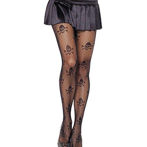 Raitron - Medias elásticas para mujer, diseño de calavera, color negro