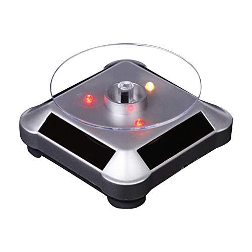 WFENG Elegante Soporte de Exhibición con Energía Solar, Plataforma Giratoria de 360 Drados con 4 Luces LED/Plata / 10cm