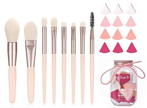 Makeup Brush Set,Exquisite Mini 8 Pcs Golden Pink Premium Cosmetic Make Up Brushes -Foundation Powder Eyebrow Eyeliner Blush Concealer Brushes Kit with 12pcs Blender Sponge for Girls and Woman
