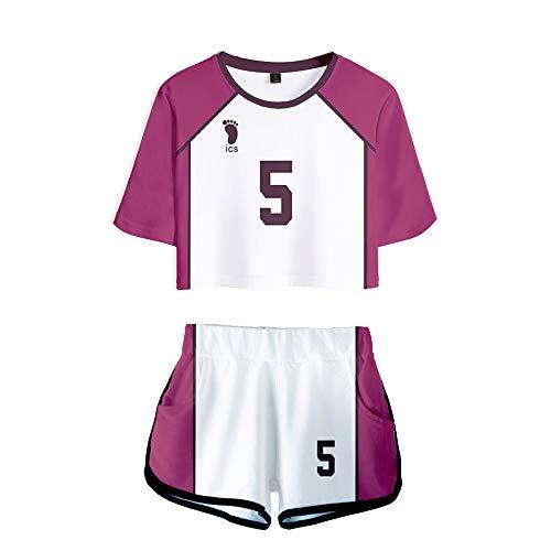 Haikyuu !! Cosplay Haikyuu Kozume Kenma Cosplay Gakuen Koukou Volleyball Anime Junior Lycéen Chemise De Sport De Costume De Joueur Nombril Ensemble T-Shirt Uniforme Pour Les Femmes
