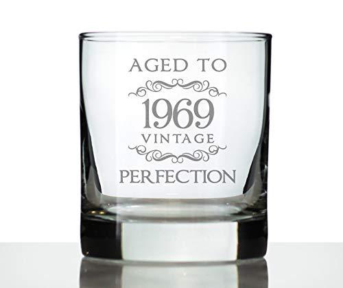 Lplpol envejecida a la perfección 1969   11 onzas de vidrio o vidrio de moda antigua, refranes grabados, regalo de 51 cumpleaños para hombres y mujeres de 50 años