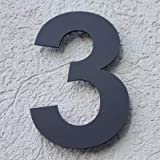 Hausnummer Acryl Anthrazit Grau Matt 4 mm RAL: 7016 - Türnummer - Post Nummer - Plexiglas