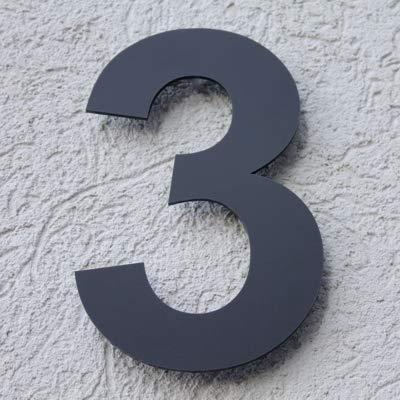 Hausnummer Acryl Anthrazit Grau Matt 8 mm RAL: 7016 - Türnummer - Post Nummer - Plexiglas