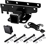 Miady Jeep Receiver Hitch Kit: 2 inch Receiver Hitch & Wiring Harness & Hitch Cover for 2007-2018 Wrangler JK 2 Door & 4 Door (Exclude JL Models)