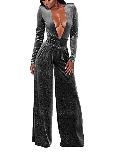 SheKiss Women's Sexy Deep V Neck High Waist Loose Pants Velvet One Piece Rompers Jumpsuits Long Sleeve Juniors Outfits Grey