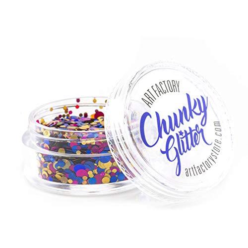 Art Factory Chunky Glitter - Fiesta (30 ml), Glitter de polyester de qualité cosmétique pour le visage, le corps et les cheveux