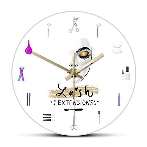 gongyu Wall Clocks for Bedrooms Eyelash Extensions Business Sign Decorative Wall Clock Girly Lash Tools Beauty Salon Clock Fashion Art Girl Room Vanity Decor Suitable for Coffee Shop Kitchen