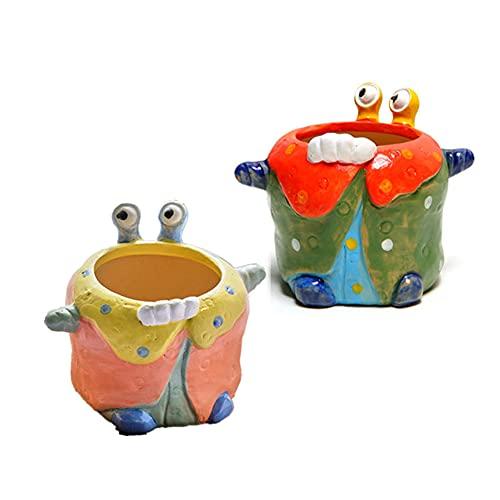 AOTEMAN Cangrejo suculenta maceta de cerámica maceta suculenta planta contenedor bonsai decoración muebles decorativos maceta conjunto (B)