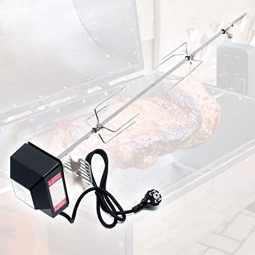 Wiltec BBQ Grillspieß 70cm 230V aus Edelstahl, inkl. 2 Fleischklammern, Drehspieß Rôtisserie