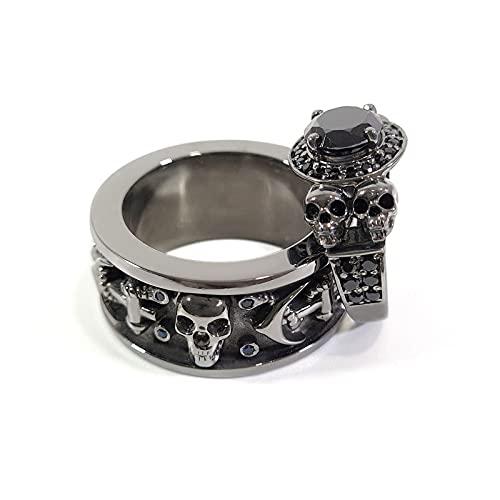 Anillo de compromiso con calavera de diamante negro halo azul CZ cráneo ancla banda a juego boda set pistola metal Fn 925 plata