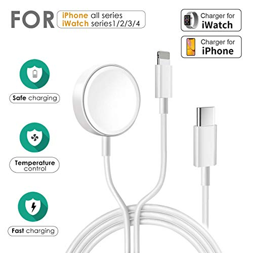 WORDIMA 2 in 1 Apple Watch Charger for series 1-4 and iPhone