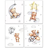 Teddy Bear Nursery Prints - Set of 4 (8 inches by 10 inches) baby wall art infant room photos