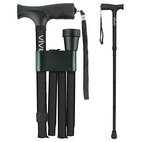Vive Folding Cane - Foldable Walking Cane for Men, Women - Fold-up, Collapsible, Lightweight, Adjustable, Portable Hand Walking Stick - Balancing Mobility Aid - Sleek, Comfortable T Handles (Black)