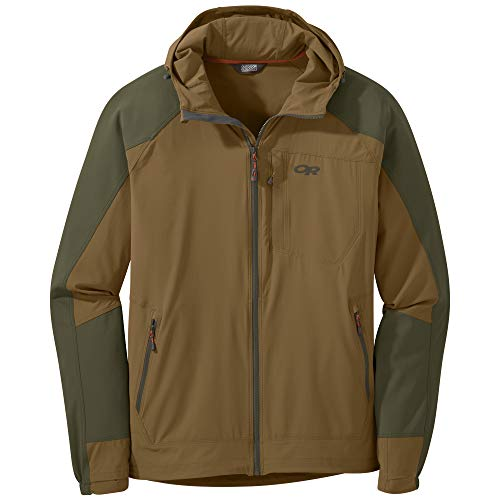 Outdoor Research Men's Ferrosi Hooded Jacket, Coyote/Fatigue, Large