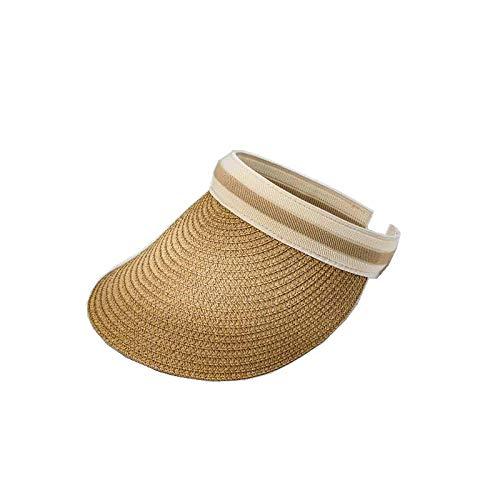 DZHUALEY Sombrero de Sol de Paja de Verano Simple Sombrero de Visera para Sol con Respaldo para Mujer con Cabezas Grandes Gorra Femenina de protección UV de ala Ancha