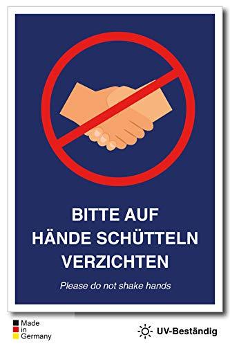 Aufkleber Schild Hände Schütteln verboten (DIN A5)
