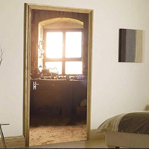 JIANXIQT deurstickers voor binnendeuren, citaat muursticker oud venster dorpel 3D badkamer deur sticker Vinyl Pvc waterdichte kunst stickers voor klas slaapkamer schuifdeuren muurschildering 77x200cm