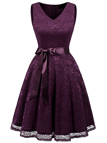 IVNIS RS90025 Damen Ärmellos Vintage Spitzen Abendkleider Cocktail Party Floral Kleid Grape XL