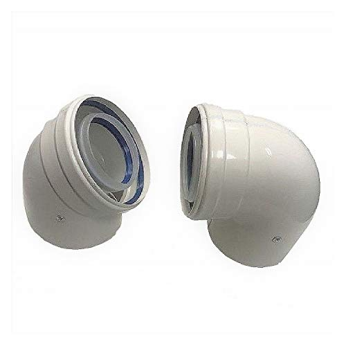 Uzman-verzending, geconcentreerde uitlaatpijp Ø 60/100 mm, boog, hoek, uitlaatpijp uitlaatsysteem dubbele buis, uitlaatpijp, uitlaatpijp, 90° Bogen
