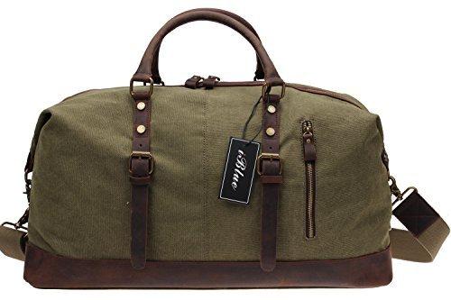Iblue Overnight Canvas Leather Trim Travel Tote Duffel Gym Shoulder Handbag Weekend Bag#012031(Upgraded Version)(XL, army green 21.6'')