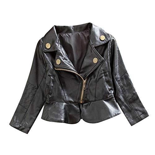 Girls Short Jacket Coat 1-4 Years Old,Fashion Infant Toddler Girls Kids Autumn Winter Leather Zipper Outerwear (6-12 Months, Black)