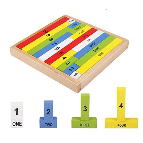 Kinder-Holz-Spielzeug-Spiel Operate Spiel Bunte Wood Block Mathematik Figure Number Stock-Kindergeburtstagsgeschenk Holzklötzen