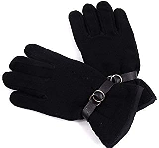 The Leather Emporium Ladies Black Soft Polyester Gloves- Large