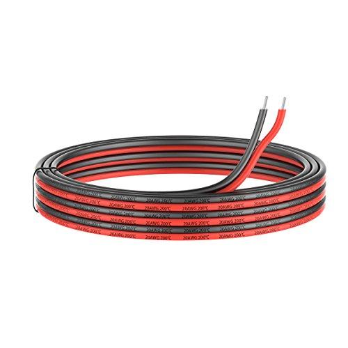 0.52mm² 20 AWG Silikon Elektrischer Draht Kabel anschließen 10 Meter [5 Meter schwarz und 5 Meter rot] Weich und flexibel aus verzinntem Kupferdraht Hohe Temperaturbeständigkeit 200 Celsius 600V