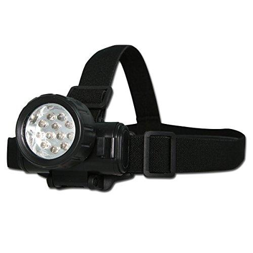Miltec Lampe Frontale 12 LED BK Adulte Unisexe, Noir, Taille Unique