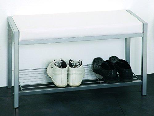 PEGANE Banc à Chaussures en Tub d'acier Coloris Alu-Blanc, Dim : L80 x P32 x H48 cm