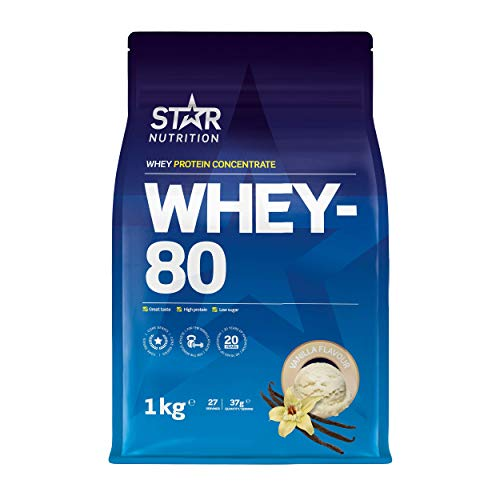 Star Nutrition | Whey 80 | Pure Concentrated Diet Whey Protein Powder with High Protein & Low Sugar | Protein Powders for Perfect Protein Shakes | Vanilla Flavor | 1Kg