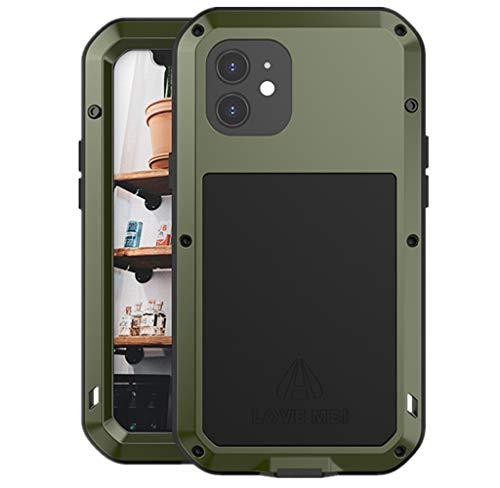 LOVE MEI per iPhone 12 Custodia,Outdoor Heavy Duty Antiurto Impermeabile Polvere-Prova Sporcizia-Prova in Alluminio Metallo Cover con Vetro Temperato per iPhone 12 6.1'' (Green)