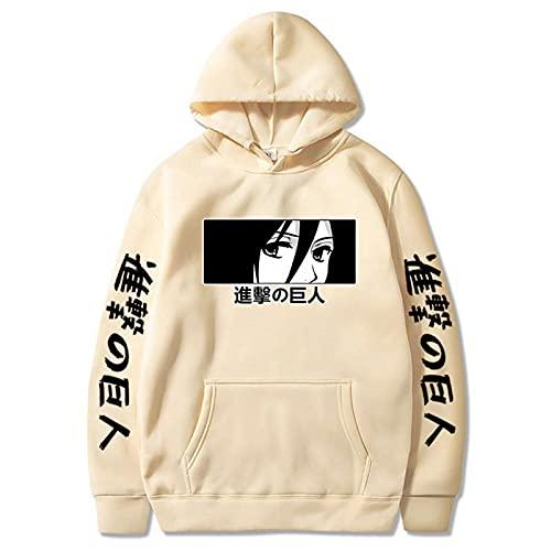 GPUI Ataque de Anime en Titán Hoodie, Sudadera Unisex suéter de Jersey Casual con Bolsillo para Adolescentes Hombres Mujeres apricot2-XL