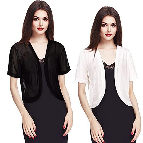 2 Pieces Women Bolero Short Sleeve Chiffon Cardigan, Black and White (Black, White,Large)