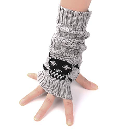 Flammi Women's Cable Knit Fingerless Gloves Arm Warmers with Crossbones Jacquard Skull Thumbhole Mittens (Light Grey)