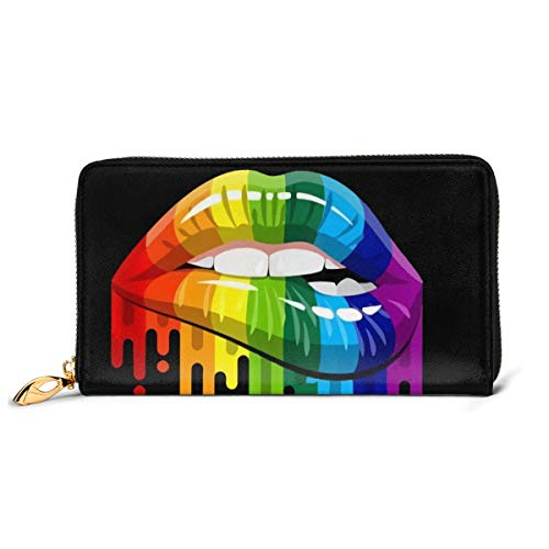 Gay Homosexual Lesbian Rainbow Lips Pride Printing Credit Card Holder Wallets for Women PU Leather Zipper Card Case for Ladies Girls, Gift Box
