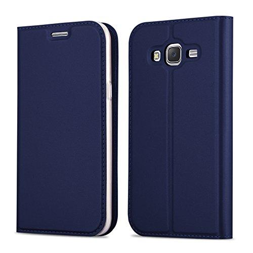 Cadorabo Coque pour Samsung Galaxy Grand Prime en Classy Bleu FONCÉ - Housse Protection avec Fermoire Magnétique, Stand Horizontal et Fente Carte - Portefeuille Etui Poche Folio Case Cover
