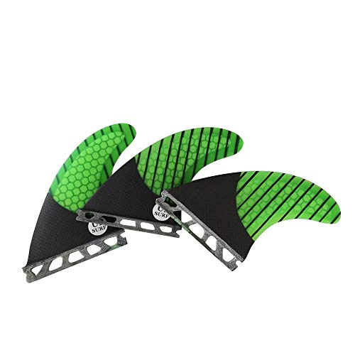 UPSURF Tabla de Surf Future G5/G7 Base Aletas Fibra de Vidrio para Surfear Tablero Aletas Thruster Set Panal de Carbono (Verde G5)
