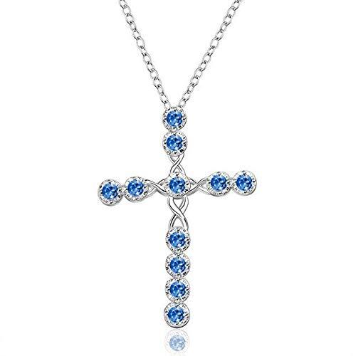 BJGCWY Collar con Colgante de Cruz Grande para Mujer, Collares de Boda a la Moda para Mujer, Cadena Larga de circonita roja, Azul, Blanca y Blanca clásica, 45cm Azul