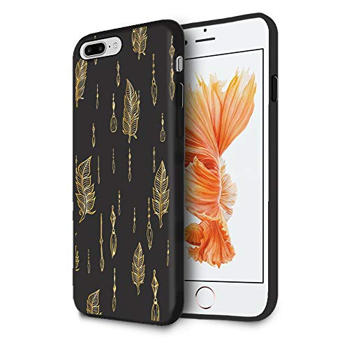 HelloGiftify iPhone X Case, Gold Feather TPU Black Soft Gel Protective Case for iPhone X