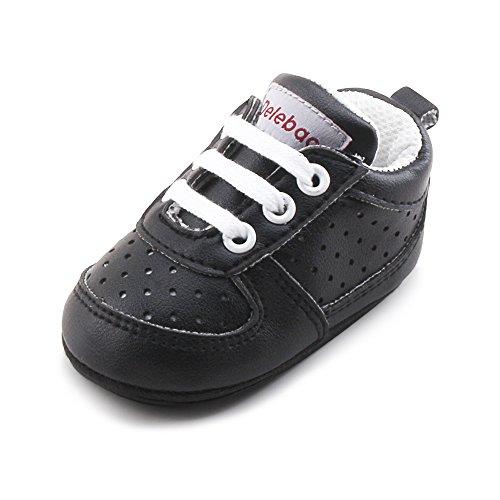 DELEBAO Babyschuhe Krabbelschuhe Turnschuhe Lauflernschuhe Weiche Sohle Baby Schuhe Lederschuhe Erste Kinderschuhe Kleinkind für Mädchen Jungen (Schwarz,6-9 Monate)
