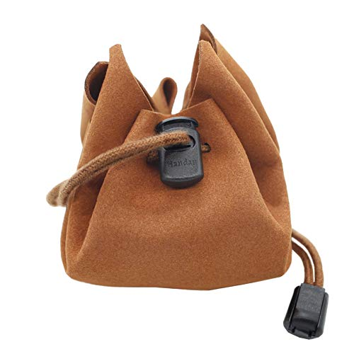 DND Dice Bag Handmade Leather Dice Bag-Tray-Draw String Dice Pouch,for Dungeons and Dragons RPG D&D Dices, Natural Brown Rich Looking Leather Bag ,Great for Coins and Accessories Hoarders Brown Color