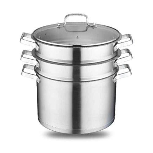 zyl Steam Saucepot Vaporizador de Acero Inoxidable Grande Multicapa 3 Capas Grueso doméstico a Prueba de Fugas Universal para Cocina de inducción/Estufa de Gas