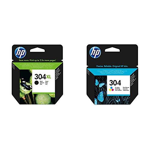 HP 304XL schwarz Original Druckerpatrone mit hoher Reichweite & 304 Farbe Original Druckerpatrone für HP DeskJet 2630, 3720, 3720, 3720, 3730, 3735, 3750, 3760; HP Envy 5020, 5030, 5032