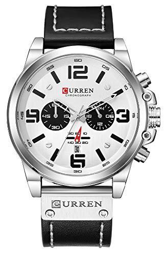 CURREN Luxury Brand Men Military Stopwatch Waterproof Leather Chronograph Watch Mens Fashion Quartz Watch (Silver White)