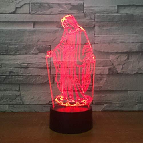 LONGJUAN-C Colorida de la lámpara de múltiples Funciones de luz de la Noche de Navidad s de Las lámparas Creativas, Luces 3D lámpara de la mesilla Decorativa 3D for la habitación de los niños, Regalo